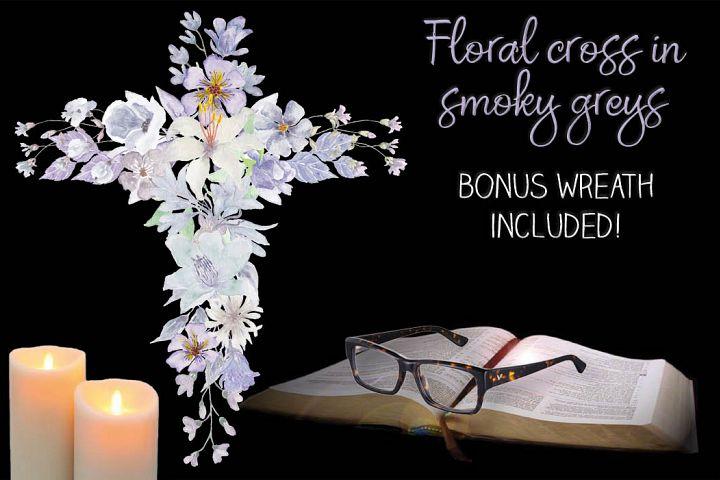 Floral cross in smoky grey watercolors