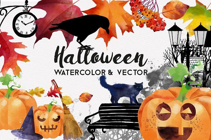 Halloween watercolor and vector
