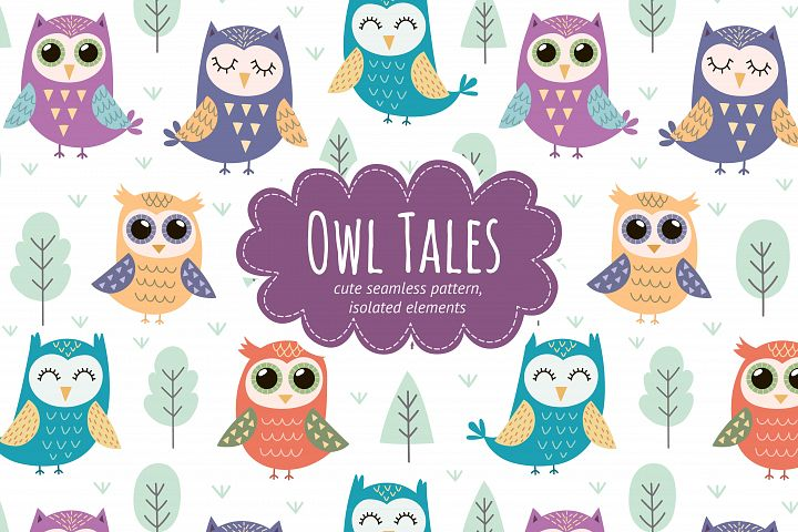 Owl Tales: seamless pattern & elements