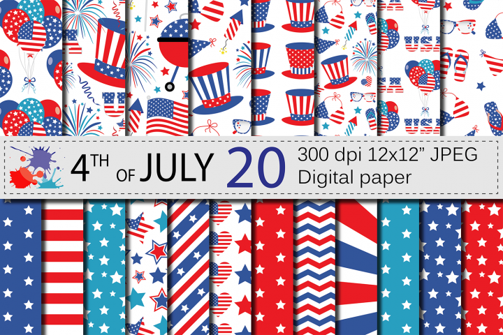 4th of July Digital Paper / USA Independence Day backgrounds / American patriotic Scrapbook paper