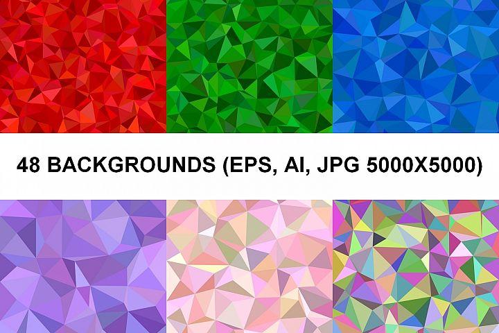 48 Triangle Backgrounds (AI, EPS, JPG 5000x5000)