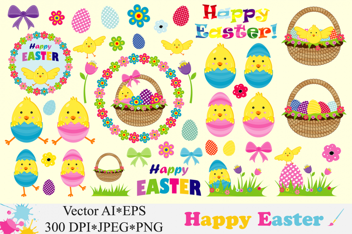 Happy Easter Clipart / Cute Easter chick, basket, eggs Vector graphics / Easter illustrations