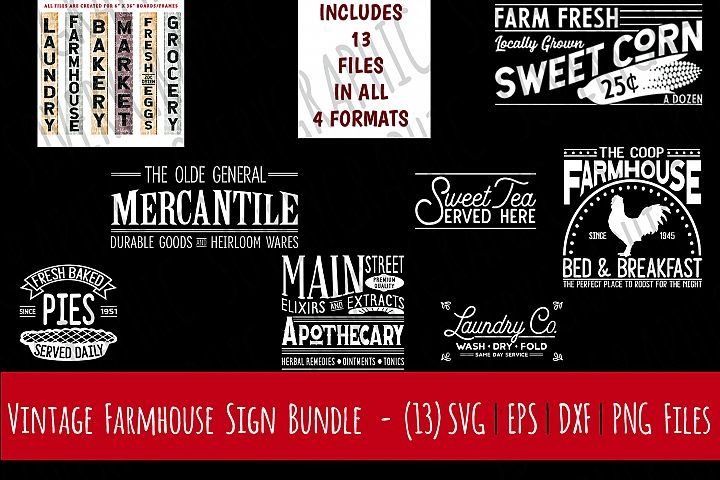 Vintage Farmhouse Sign Bundle | 13 Designs | Cutting Files | Printables | svg | eps | png | dxf | Sweet Tea | Mercantile | Apothecary | B&B