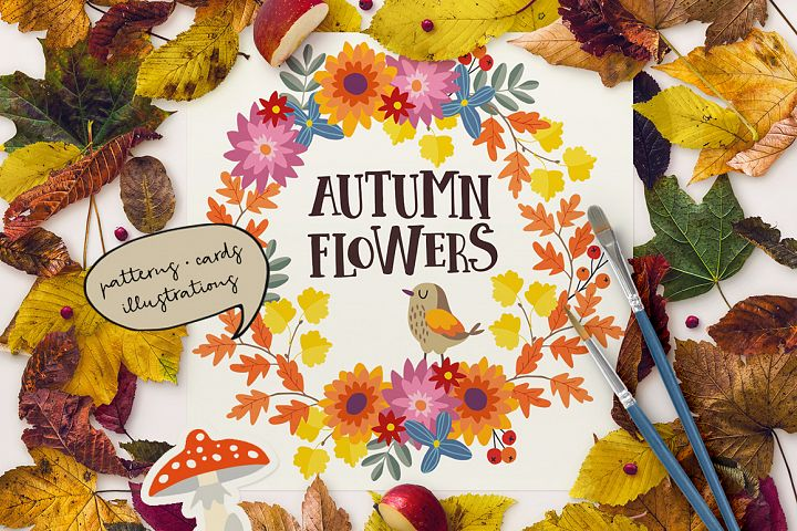 Autumn flowers graphic collection