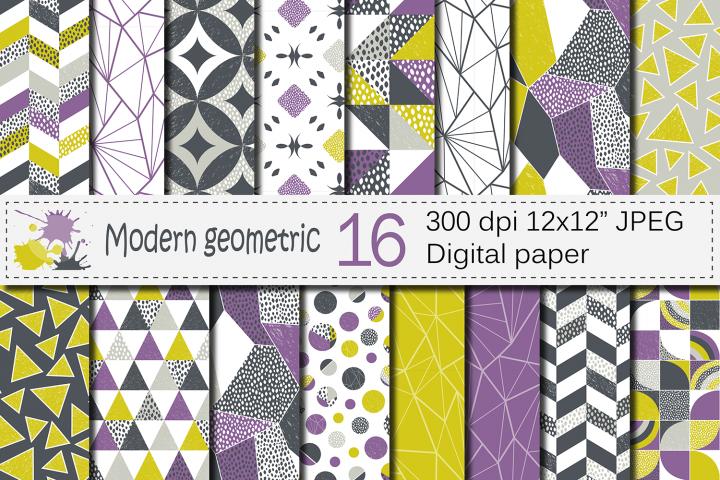 Seamless Modern Geometric Digital Paper / Geometric Patterns / Modern Backgrounds - Purple Lime Gray