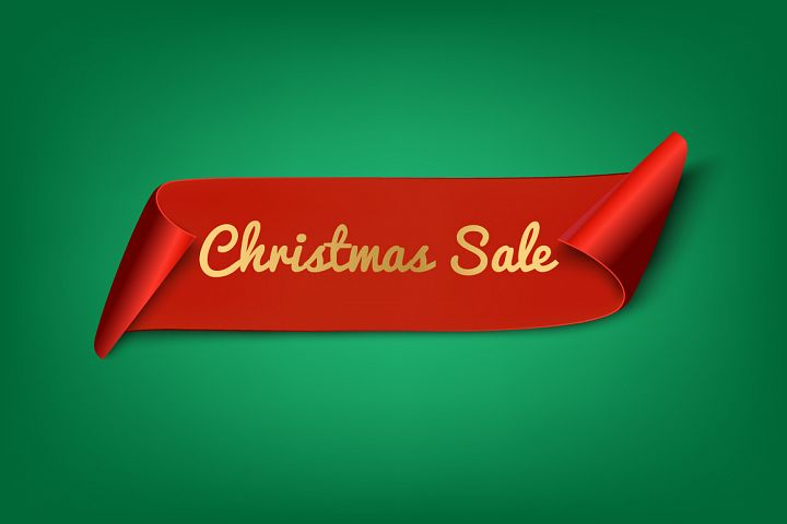 Christmas Sale. Red Ribbon
