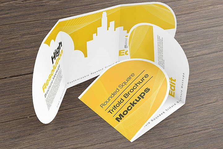 Rounded Square Tri-Fold Brochure Mockups