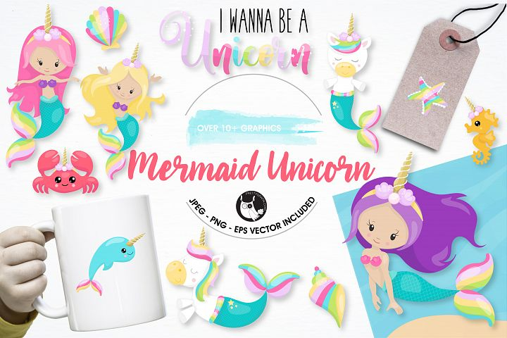 Mermaid unicorn graphics and illustrations