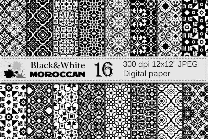 Black and White Moroccan Digital Paper Pack / Ethnic Tribal Geometric Ornamental Digital papers / Moroccan backgrounds / Scrapbooking paper