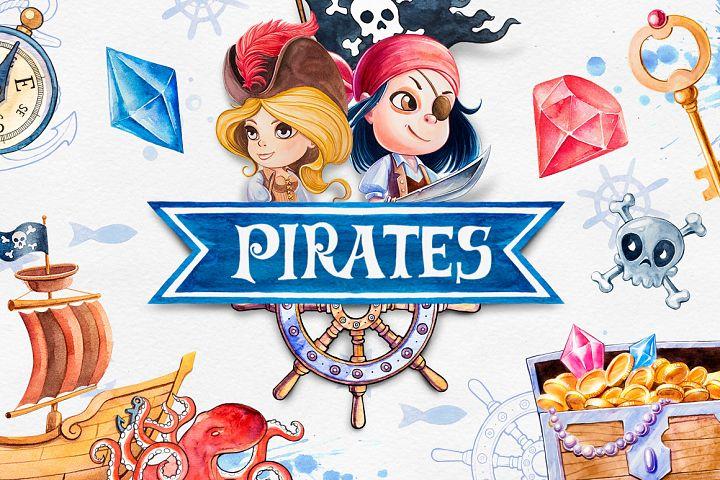 Pirates. Watercolor illustrations.