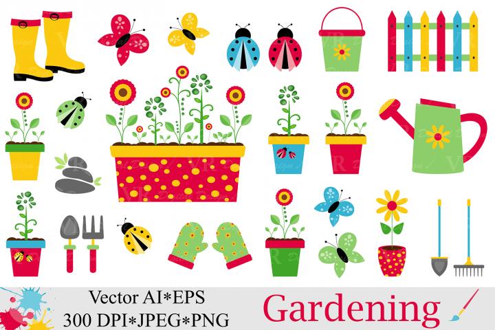 Spring Garden Clipart / Gardening Vector graphics / Ladybugs and butterflies illustartions