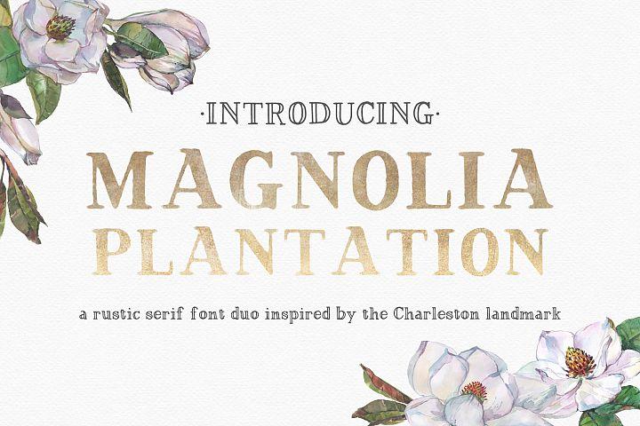 Magnolia Plantation Hand-lettered Serif Font Duo