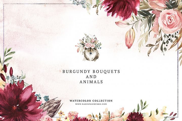 Burgundy Bouquets & Animals