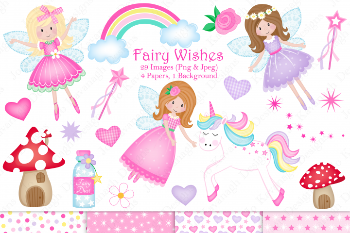 Fairy clipart, Unicorn clipart, Fairy graphics & Illustrations, Unicorn graphics & illustrations, Fairies, Fairy digital papers