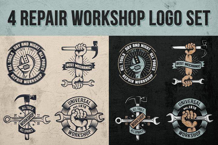 Repair workshop logo set