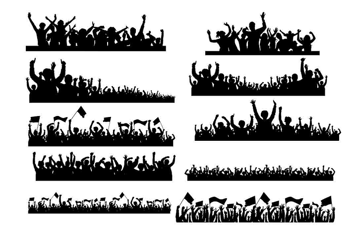 Cheering crowd silhouette SVG PNG DXF EPS