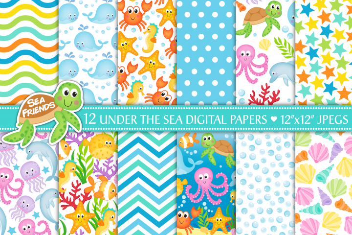 Under the sea digital papers, Sea animals digital papers, Sealife digital papers, Under the sea patterns, Sea animal patterns, scrapbook papers