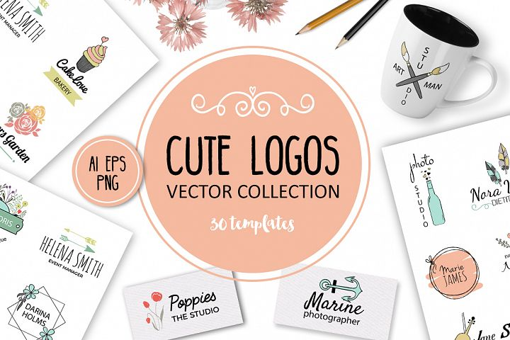 Cute Vector Logos Collection. 30 templates