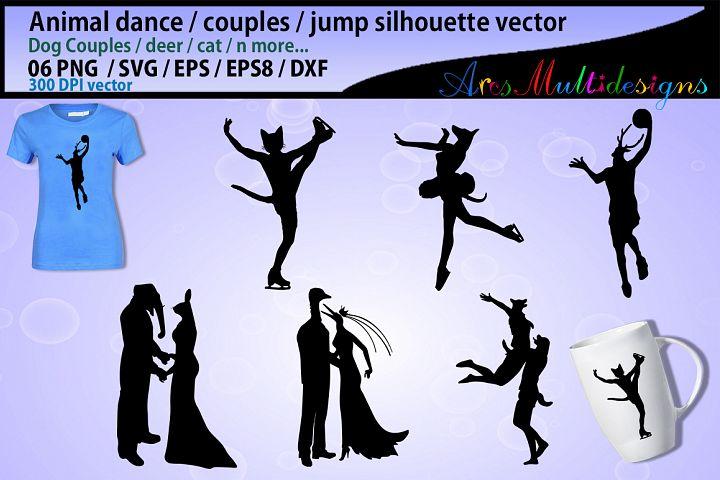 Animal dance svg / animal couples svg / dog couples svg / cat dance svg - vector