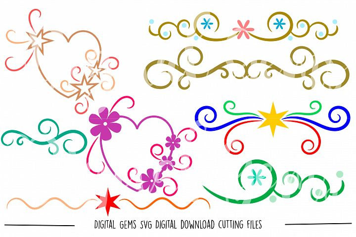 Hearts and Flourishes SVG / DXF / EPS / PNG files
