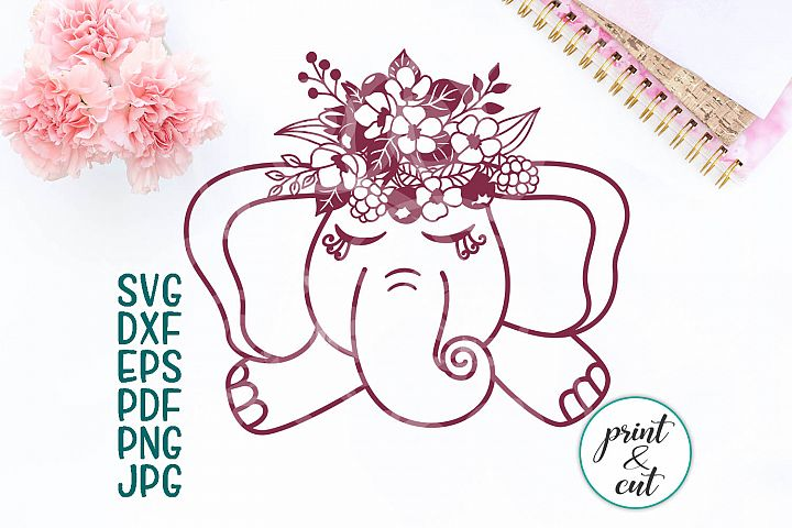baby elephant with flowers svg, cutting file hand paper cut