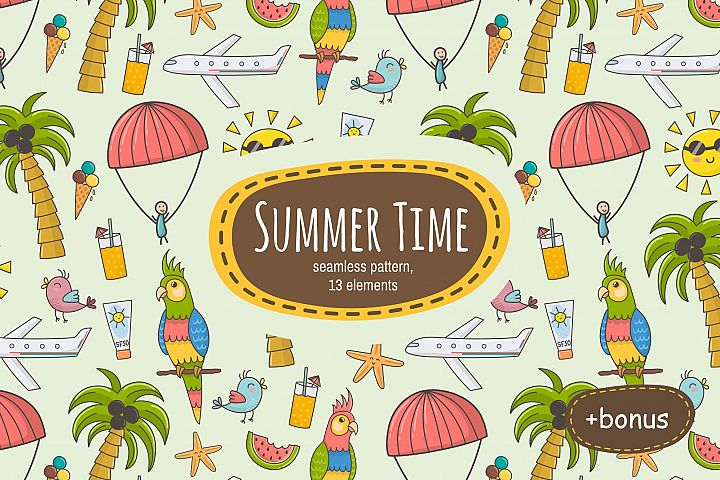 Summer Time: pattern & clipart - Free Design of The Week