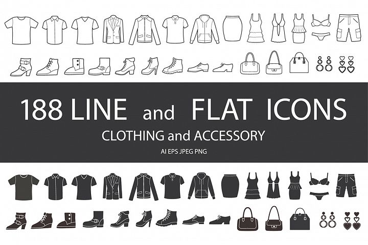 Set of clothing, shoes, accessories line and flat icons. Womens , Mens and Childrens fashion. Seamless patterns with icons.