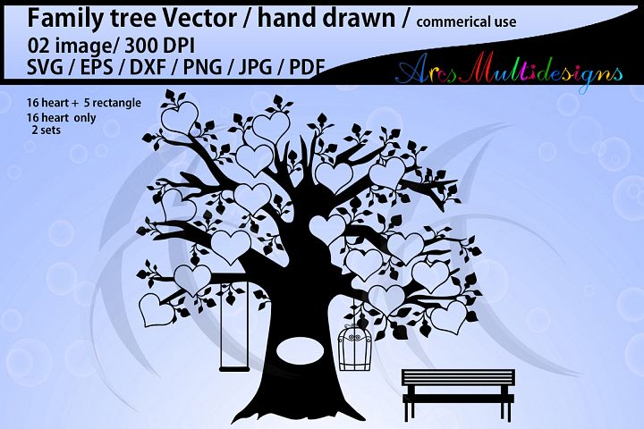 family tree clipart SVG, EPS, Dxf, Png, Pdf, Jpg / family tree silhouette / hand drawn family tree svg / vector / Commerical & personal use