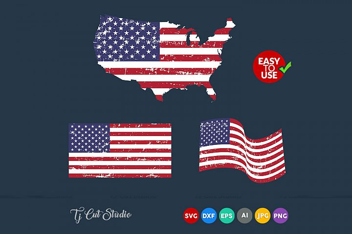 Distressed flag, American flag ,America map svg, Flag svg, Files for Silhouette Cameo or Cricut, Commercial & Personal Use.