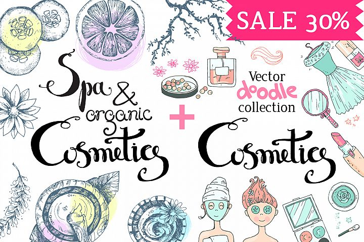 Organic Cosmetics, Spa. Doodles
