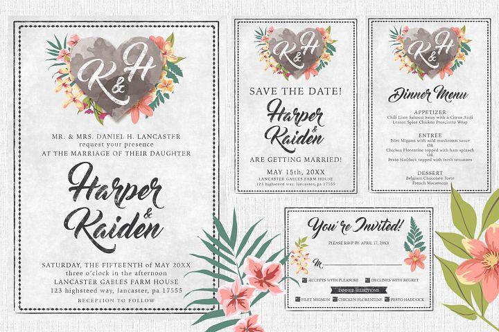 Chalk Floral Wedding Invite Bundle
