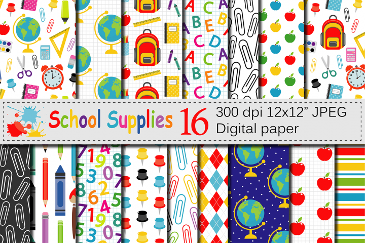 Back to School Digital paper / School Supplies pattern / School Background / Teacher Printable paper