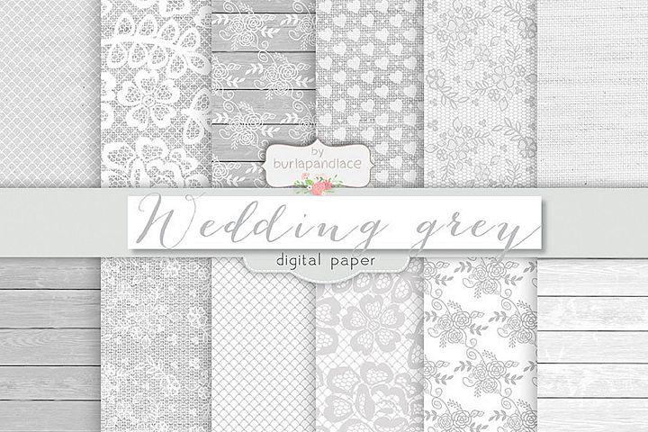 Grey wedding digital paper pack