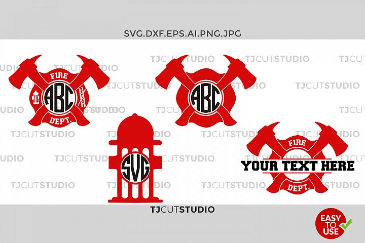 Firefighter Svg, Fireman Monogram Svg, Firefighter Circle Monogram, Svg Files for Silhouette Cameo or Cricut Commercial & Personal Use