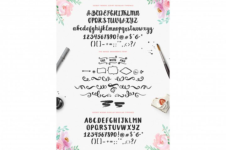 Secret Words Font Duo + Bonus - Free Font of The Week Design 1