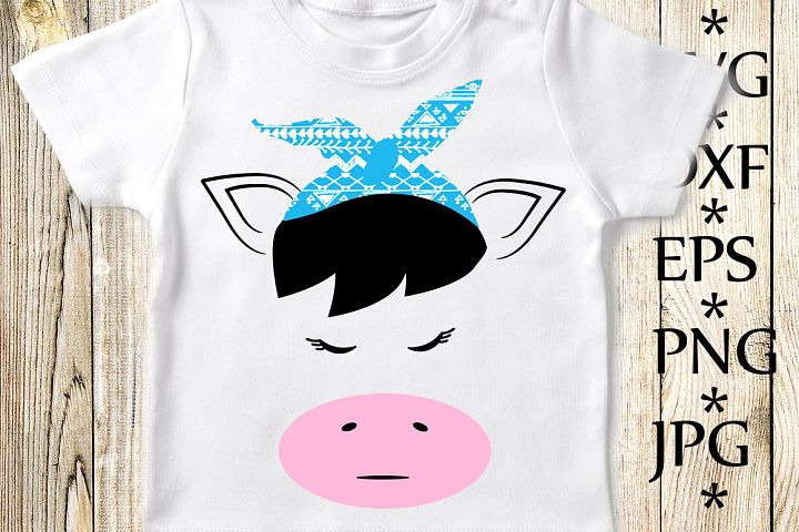 Cow with bandana Svg,Cow face Svg,Cute Cow Svg,Kids Svg