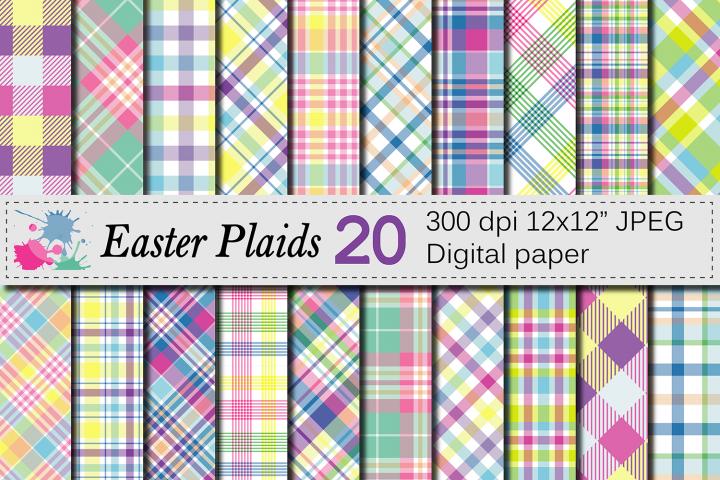 Easter Plaid Digital Paper / Spring Pastel Plaid Pattern