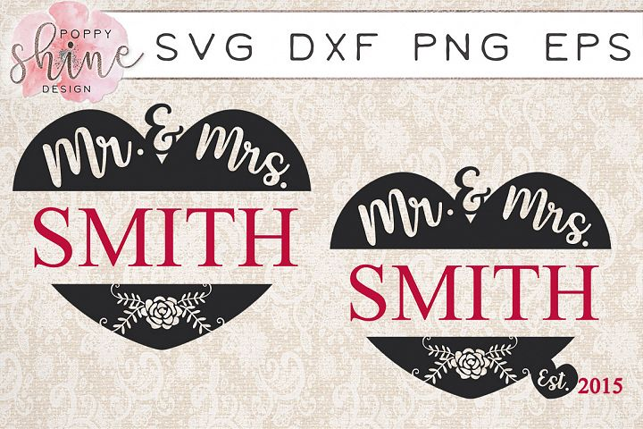 Mr & Mrs Monogram Frame Bundle SVG PNG EPS DXF Cutting Files