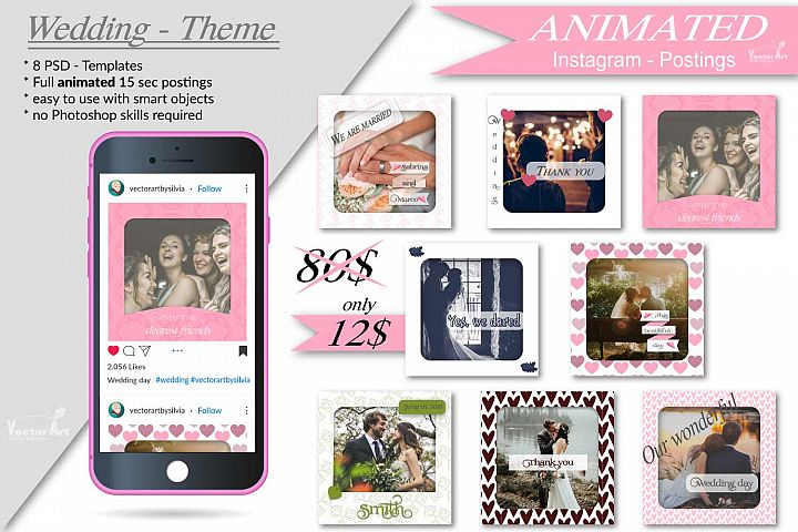 MOCKUP - Animated Instagram templates, Wedding, inc. custom