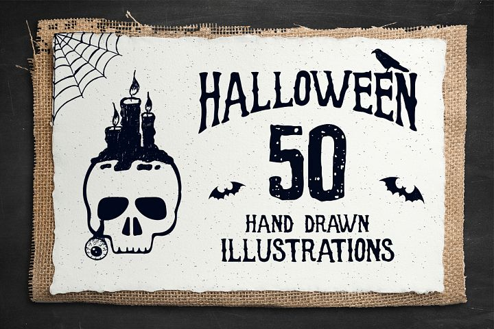 Halloween. 50 Hand Drawn Objects - Free Design of The Week