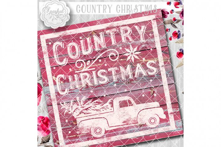 Vintage COUNTRY Christmas SVG File, Cutting File, Vector Clipart Holiday Decor, Silhouette Cutting file design Available in Svg,Dxf,Eps,Png