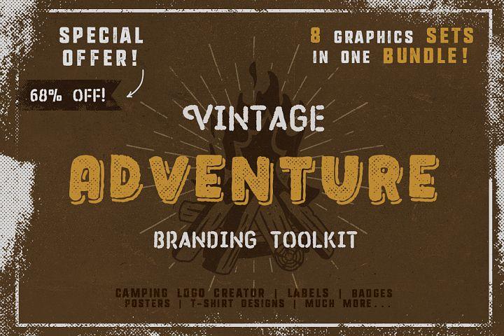 Vintage Adventure Branding Toolkit / Retro Camping Identity / Icons / Logos / Vector / SVG