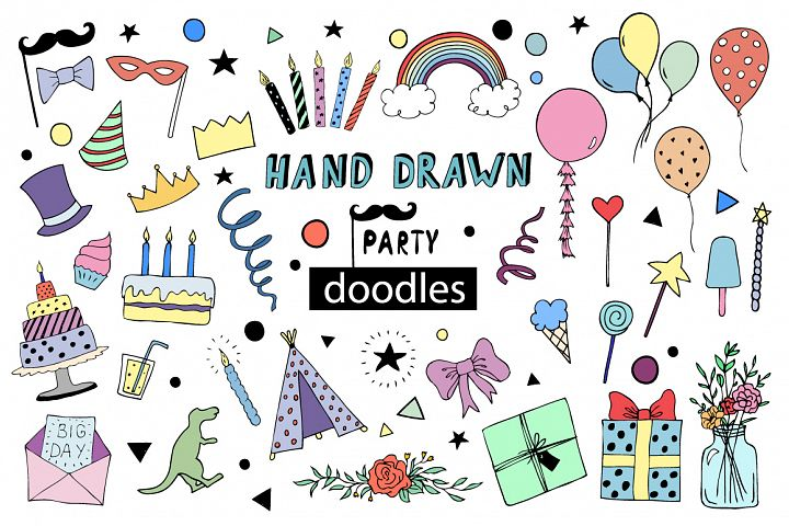 Hand drawn Kids Party doodles