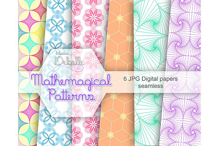Mathemagical digital papers seamless pattern