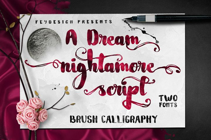 Nightamore Brush Calligraphy (Bonus Font)
