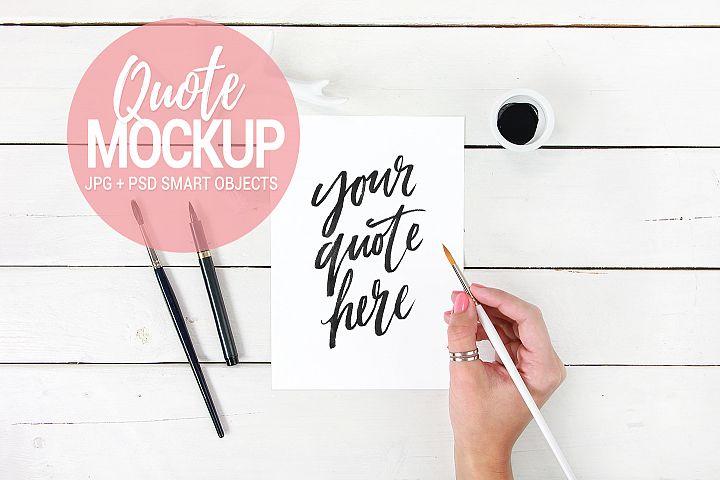 Print quote mockup, feminine styled stock photo