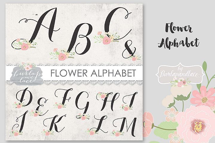 VECTOR Flower alphabet clipart