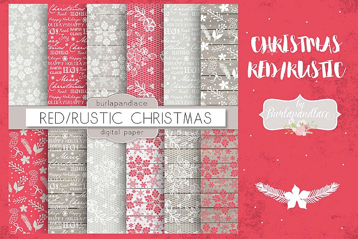 Red snowflakes christmas digital paper