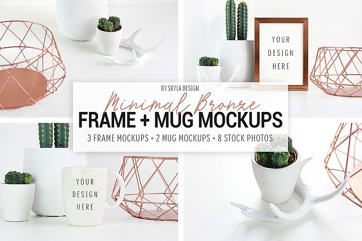 Frame & mug mockup, minimal bronze & cactus